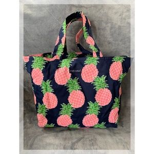 Simply Southern Pineapple Beach Bag Tote Pink Navy